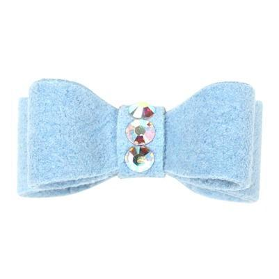 Dog Bows - Puppy Blue 3-Stone Dog Hair Bow by Susan Lanci