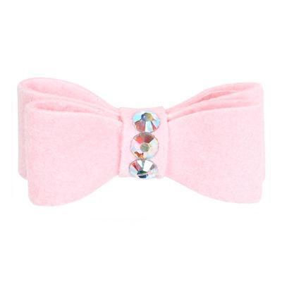 Dog Bows - Puppy Pink 3-Stone Dog Hair Bow by Susan Lanci