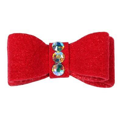 Dog Bows - Red 3-Stone Dog Hair Bow by Susan Lanci