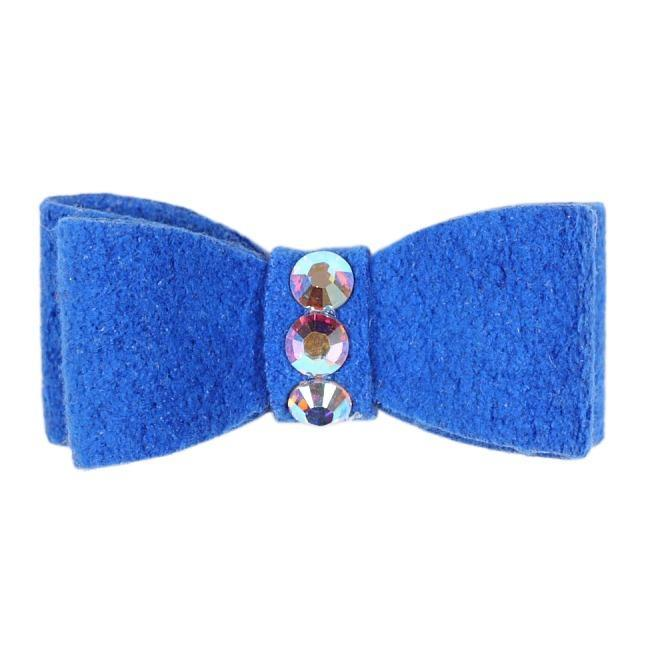 Dog Bows - Royal Blue 3-Stone Dog Hair Bow by Susan Lanci