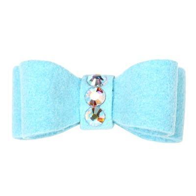 Dog Bows - Tiffy Blue 3-Stone Dog Hair Bow by Susan Lanci