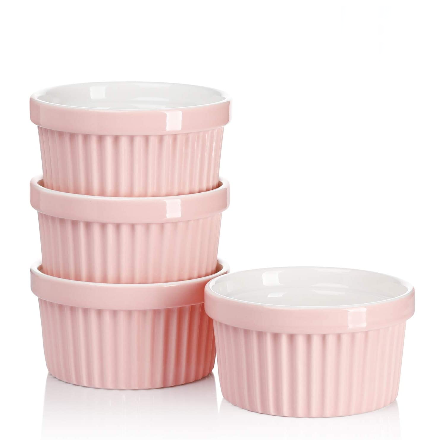 Pink Ribbed Porcelain Dog Bowl