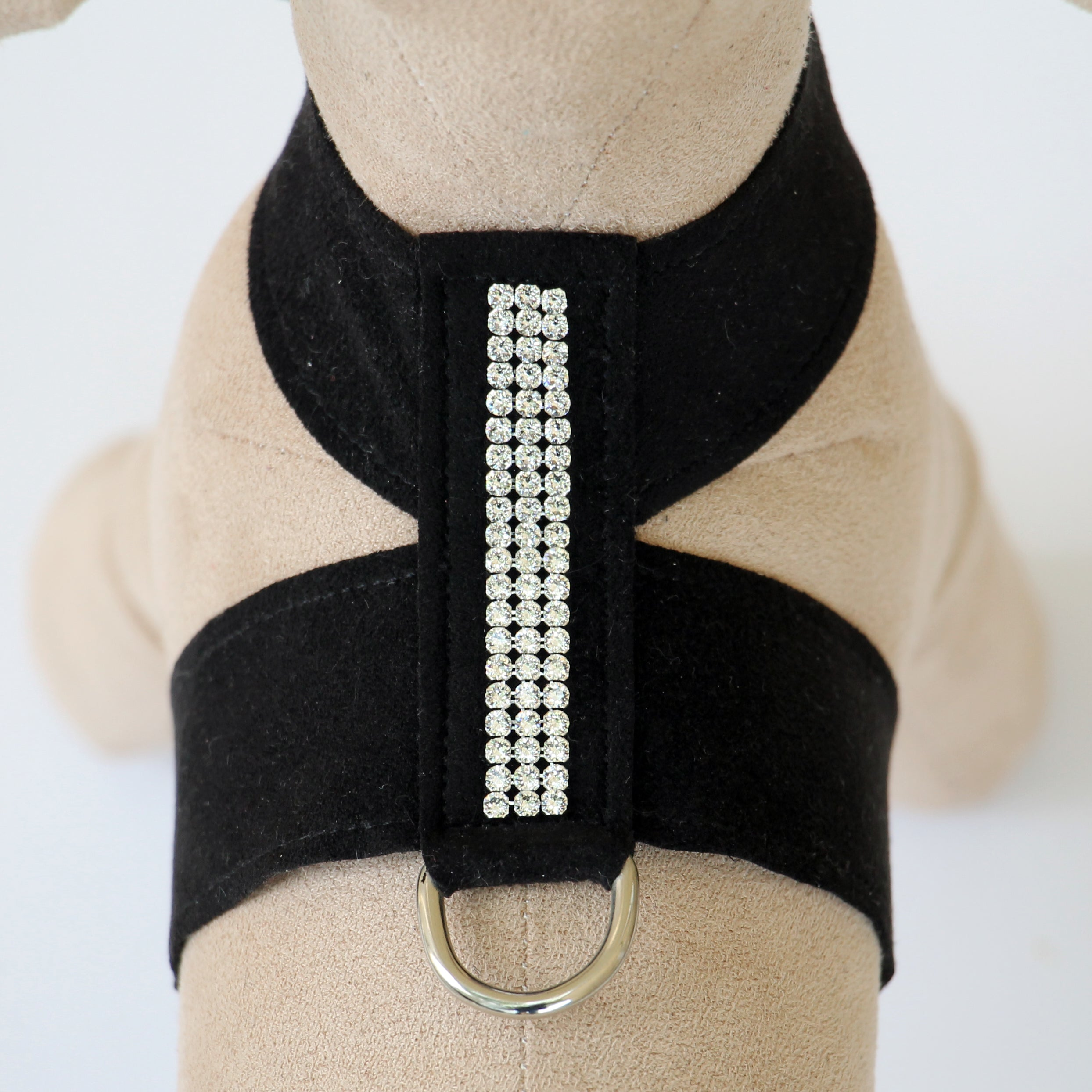 Giltmore 3-Row Crystal Pet Harness: Black