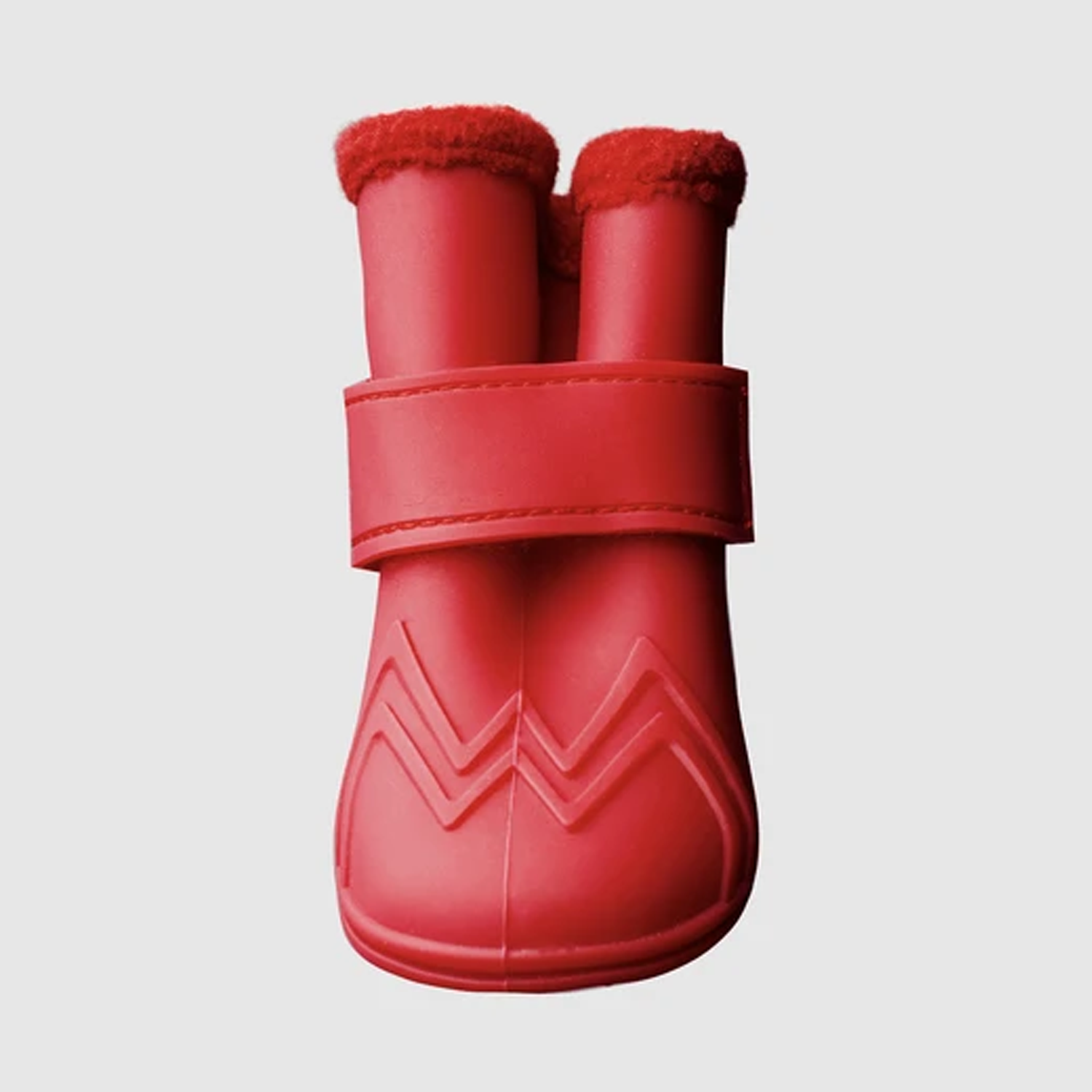 Lined Wellies Dog Boots: Red