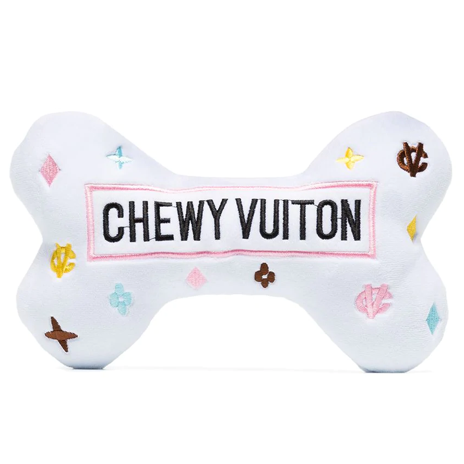 Chewy Vuiton Dog Bone: White