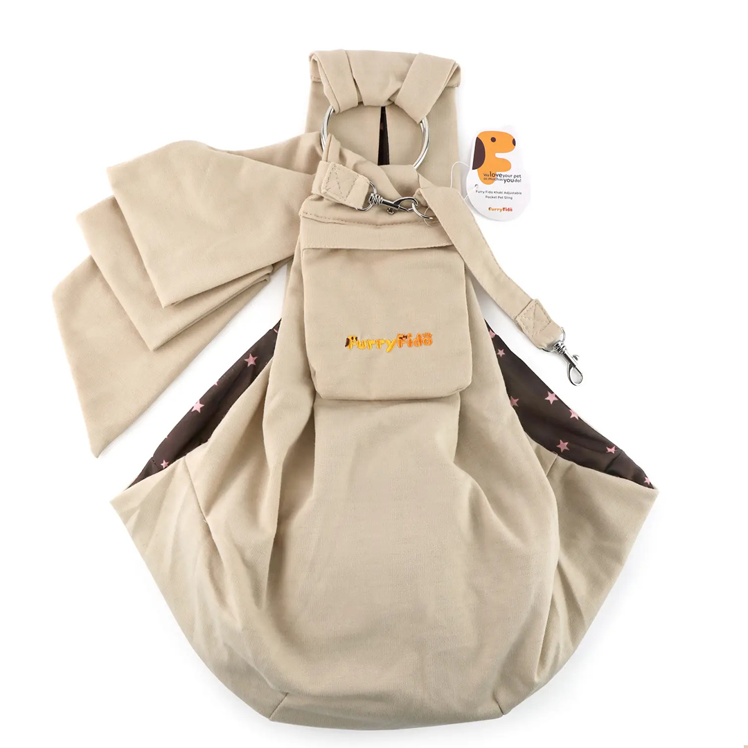 Adjustable Pocket Pet Sling: Khaki