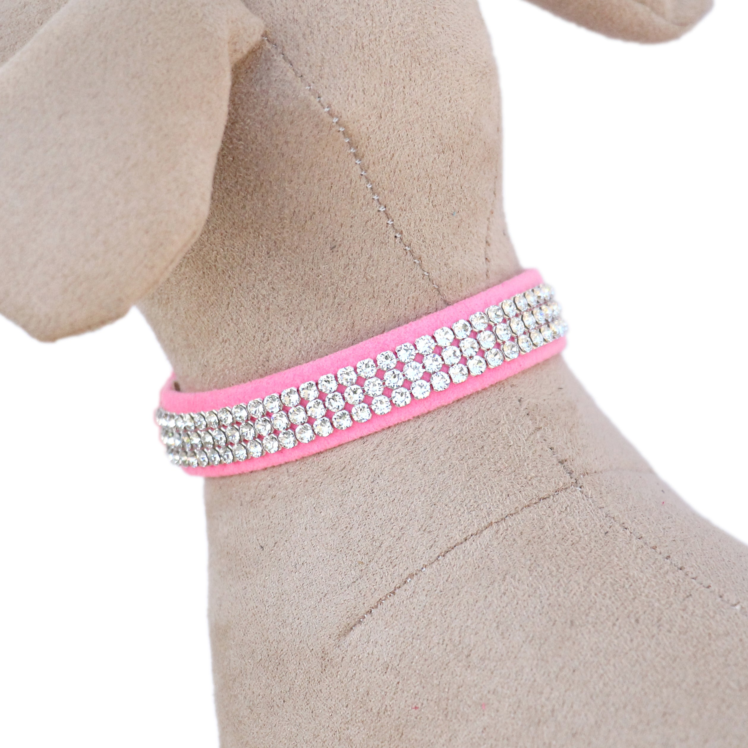 Giltmore 3-Row Crystal Pet Collar: Perfect Pink