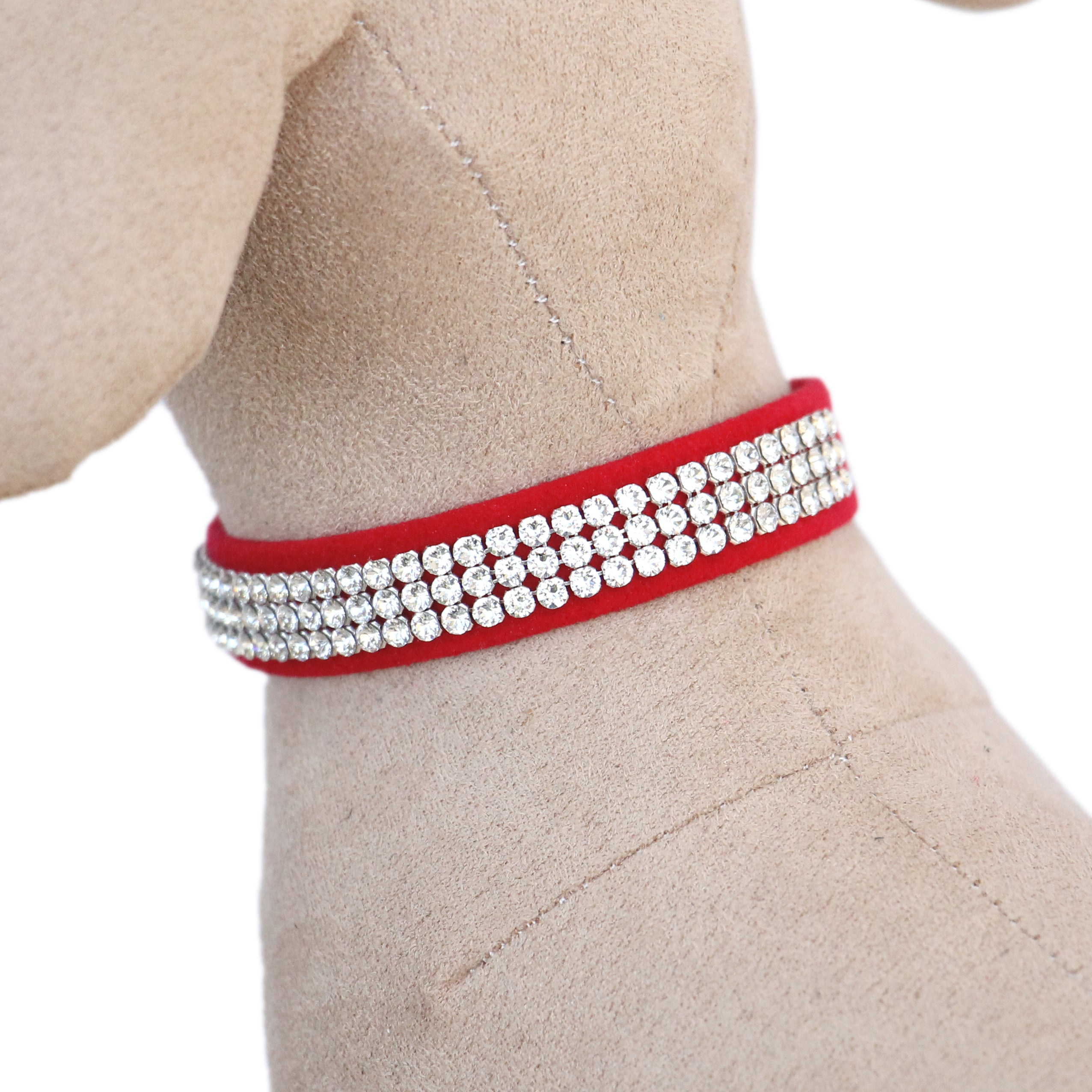 Giltmore 3-Row Crystal Pet Collar: Red