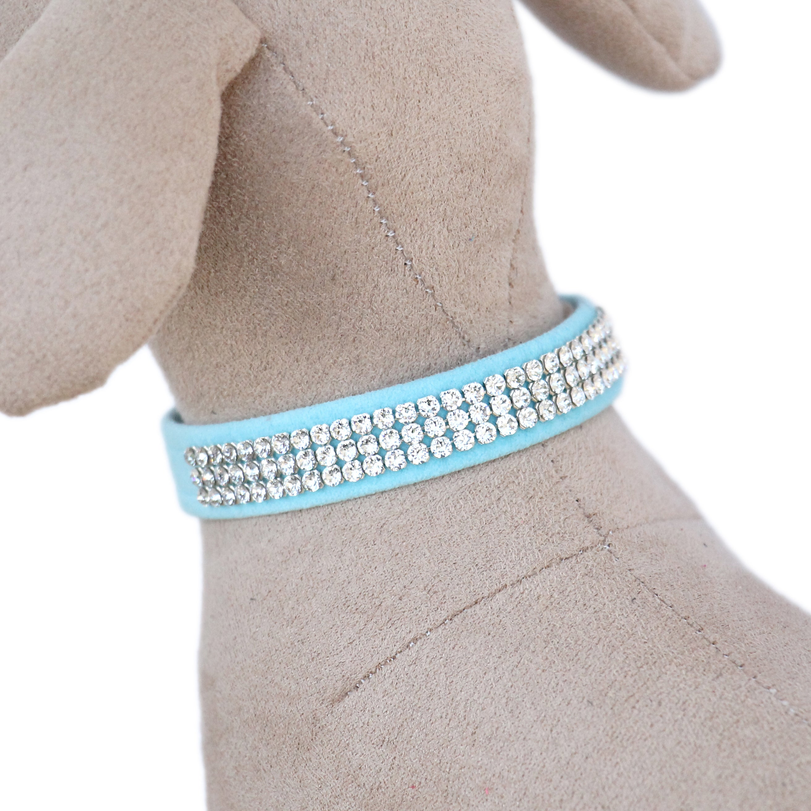 Giltmore 3-Row Crystal Pet Collar: Tiffy Blue