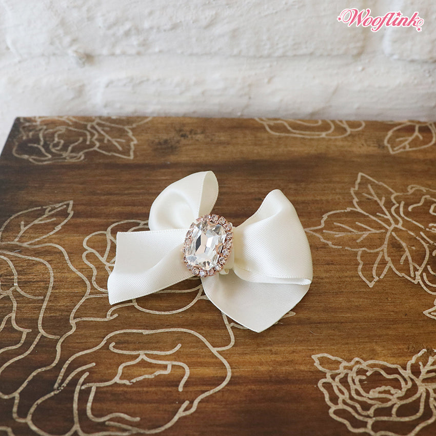 Dog Bows - White Olivia Hair Bow by Wooflink