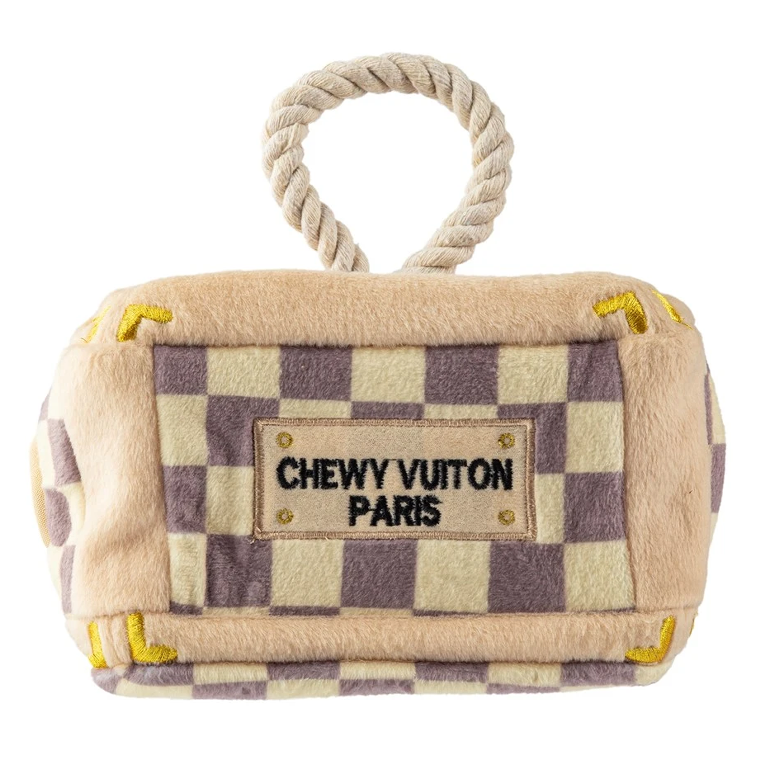Checker Chewy Vuiton Trunk Interactive Dog Toy