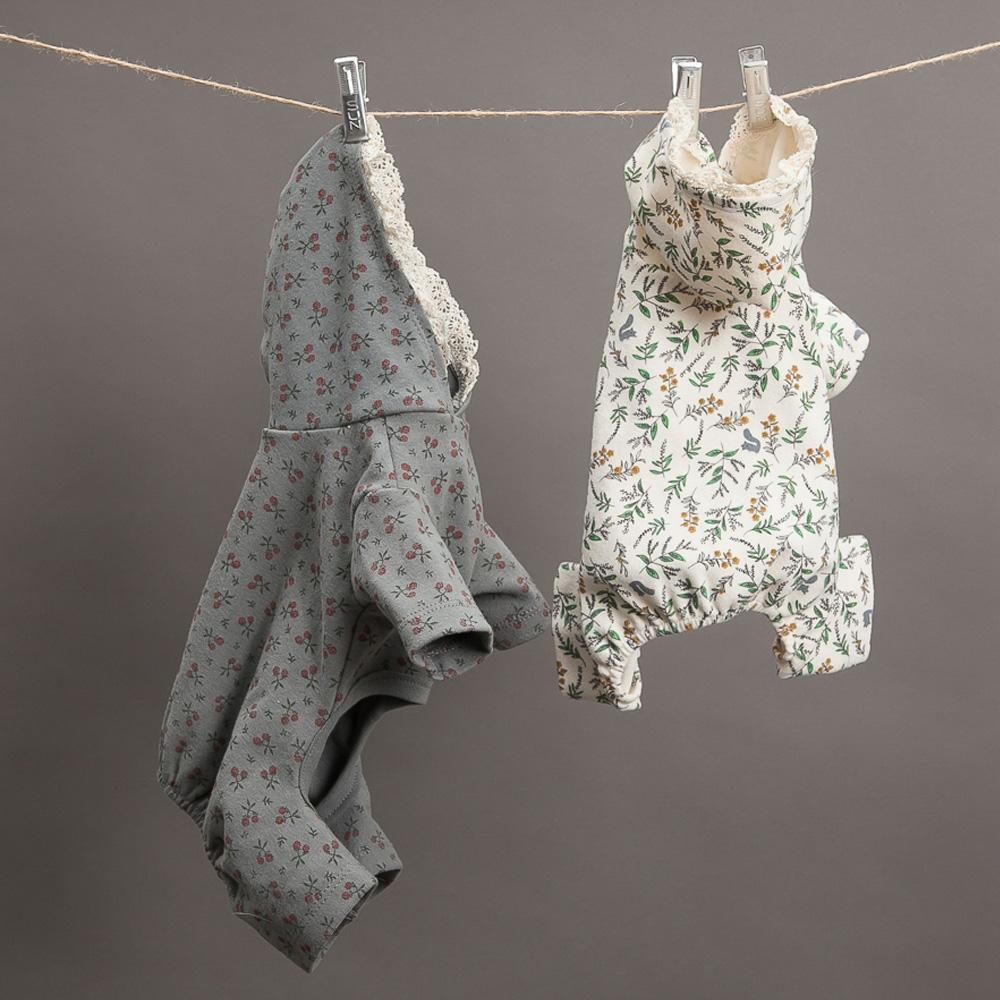 Botanical Dog Romper: Grey