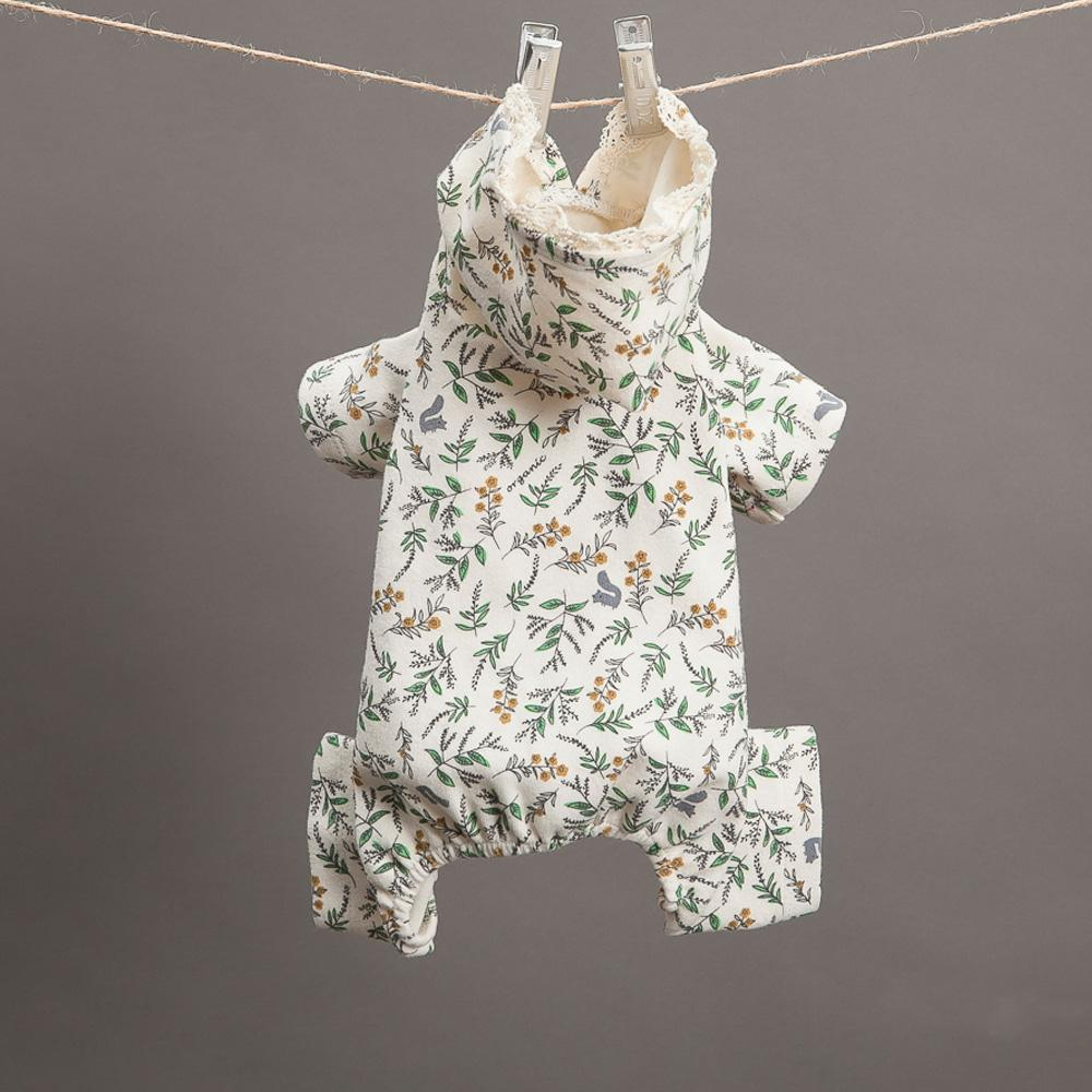 Botanical Dog Romper: Cream