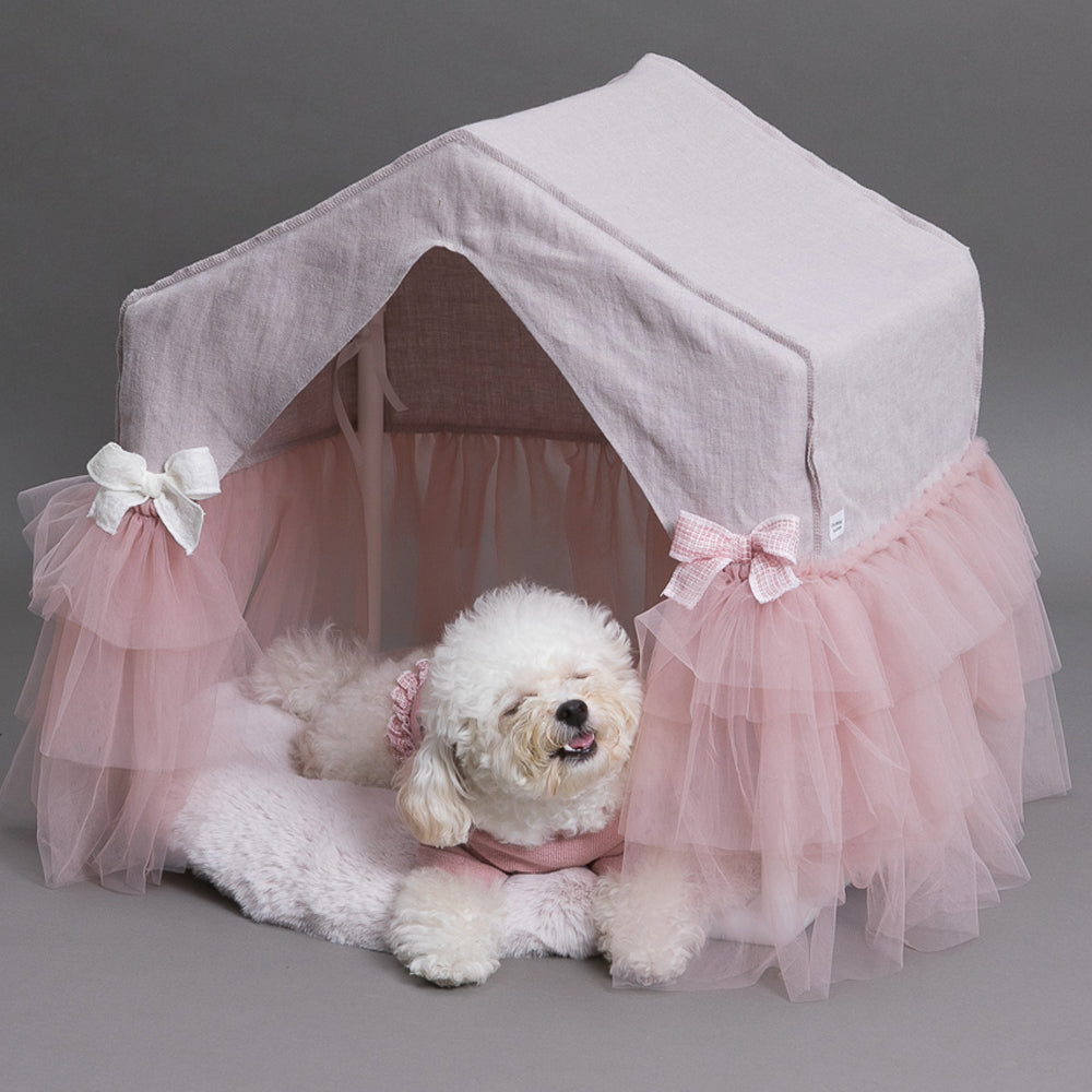 Designer Dog House - Lavender Linen Peekaboo Dog House - TeaCups Puppies & Boutique