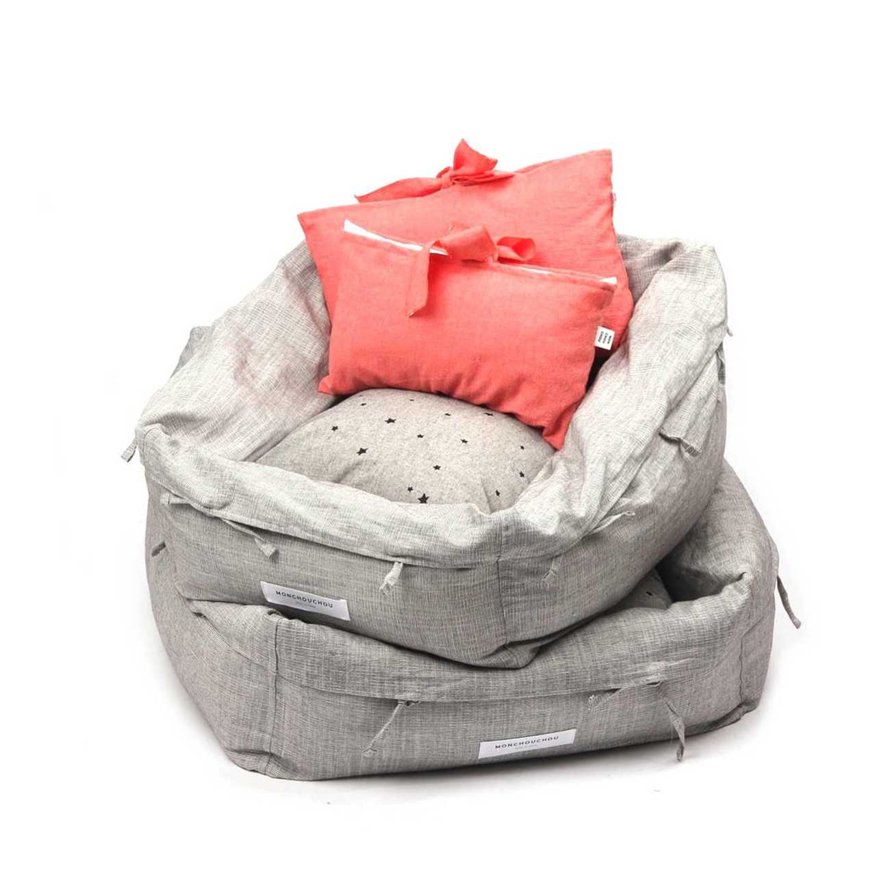 Grey Linen Dog Bed