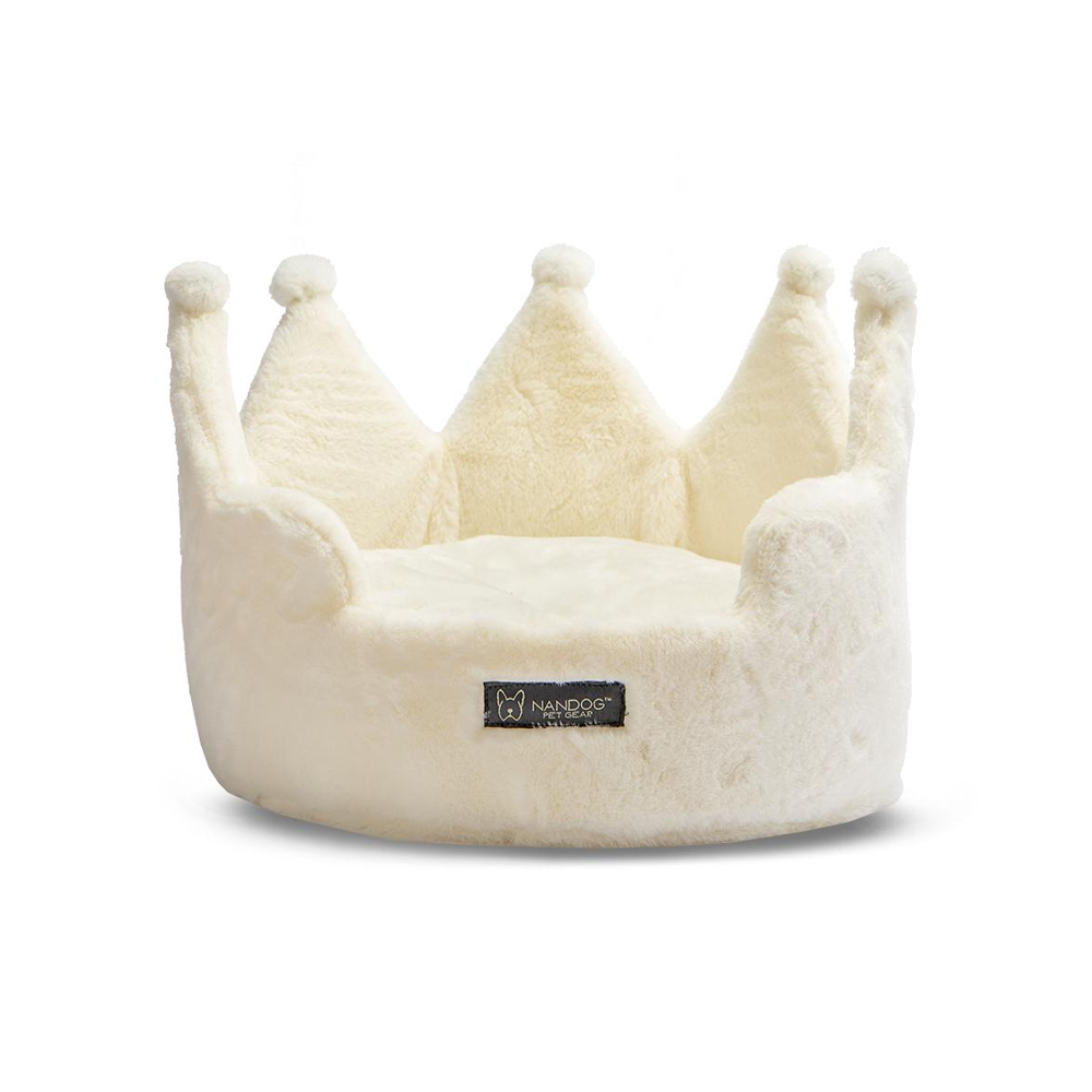 Crown Dog Bed: Ivory