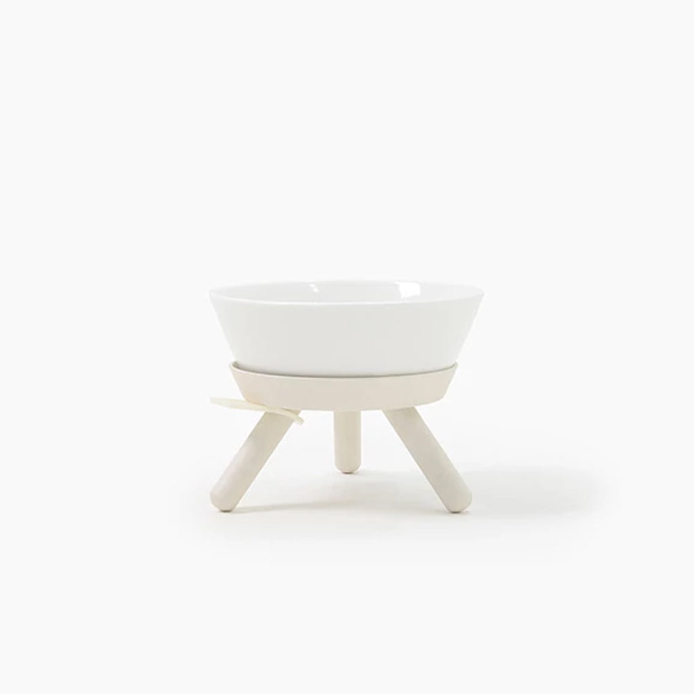White Modern Dog Bowl Set