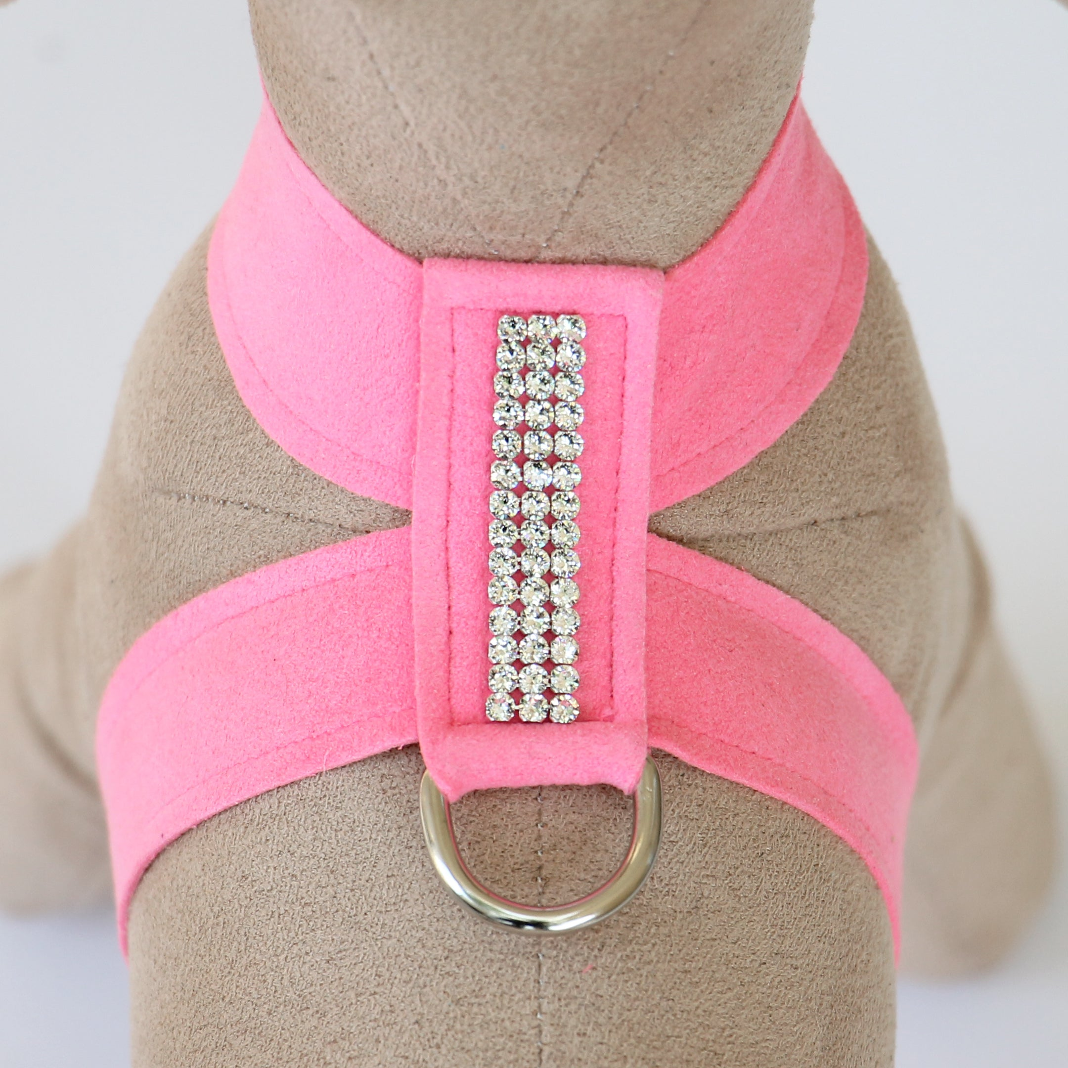 Giltmore 3-Row Crystal Pet Harness: Perfect Pink