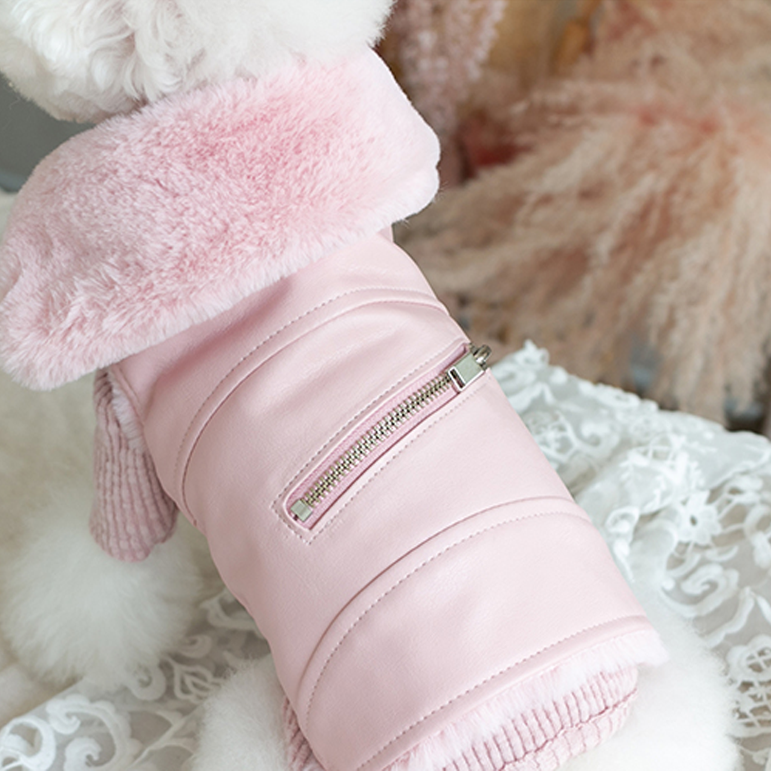 Faux Fur Dog Biker Jacket: Pink