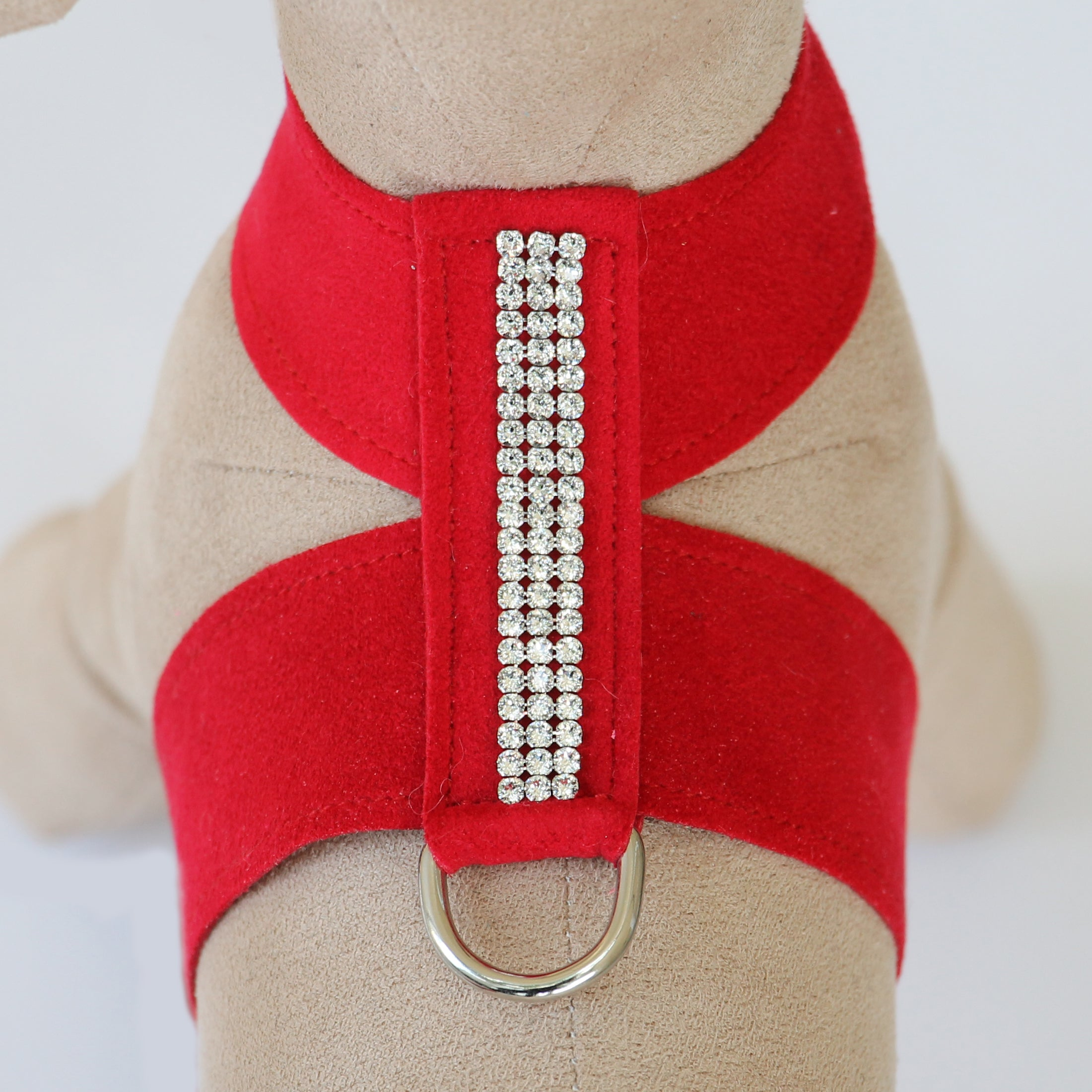 Giltmore 3-Row Crystal Pet Harness: Red