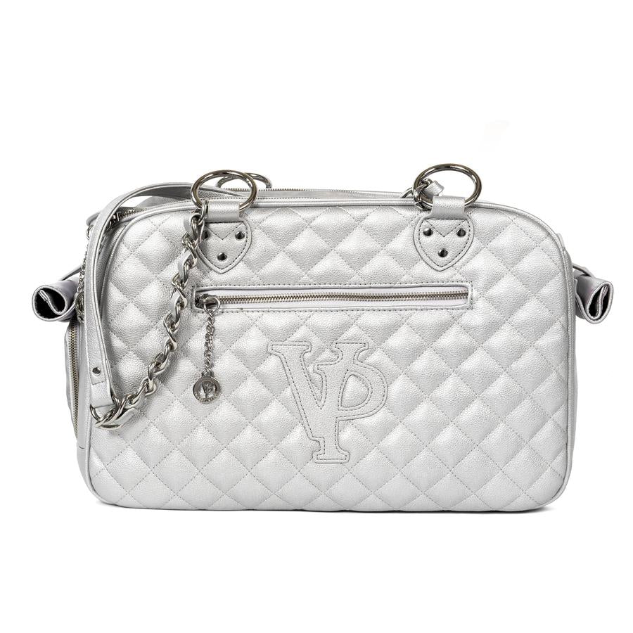Classic Quilted Pet Carrier: Silver