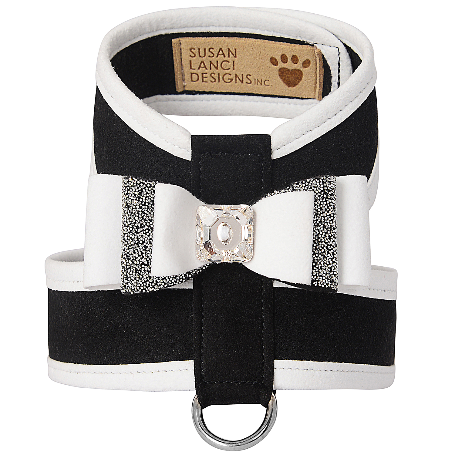 Crystal Stellar Really Big Bow Tinkie Dog Harness: Black & White