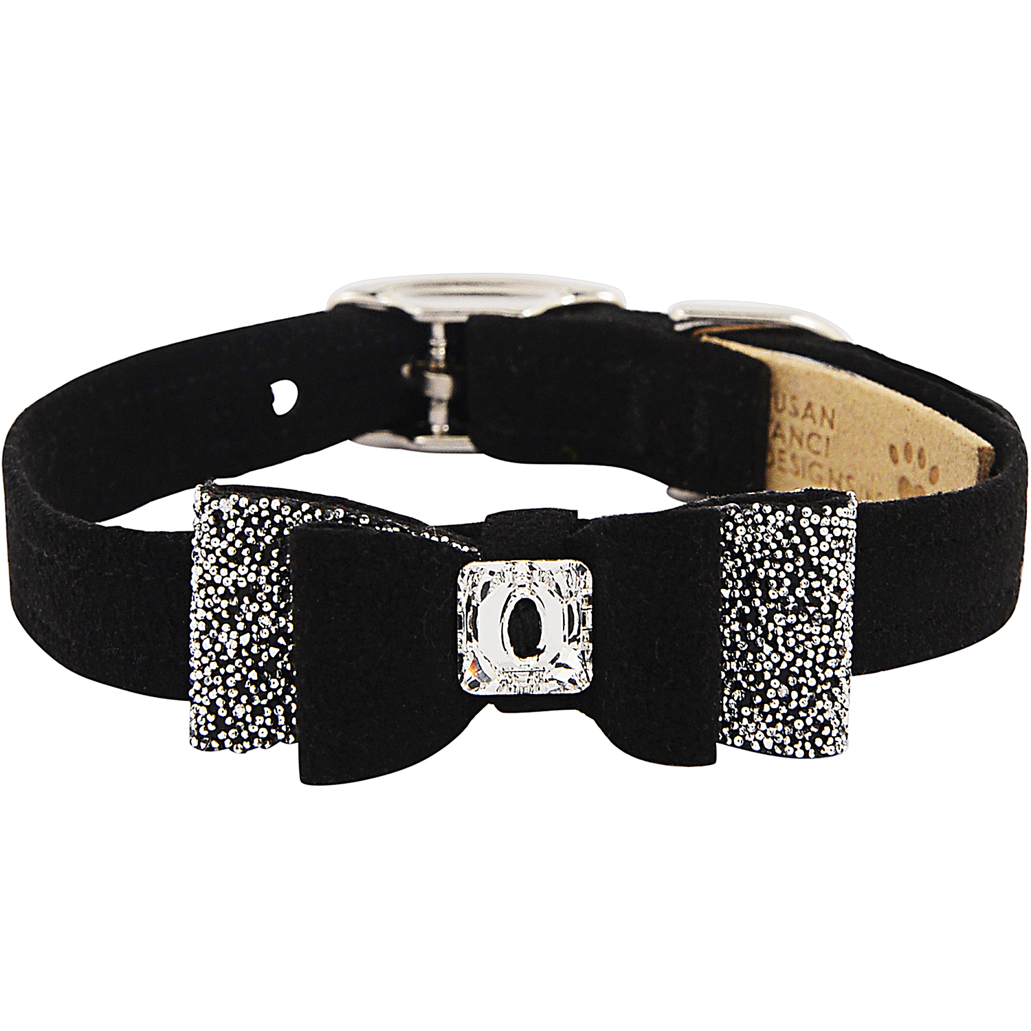 Crystal Stellar Big Bow Pet Collar: Black