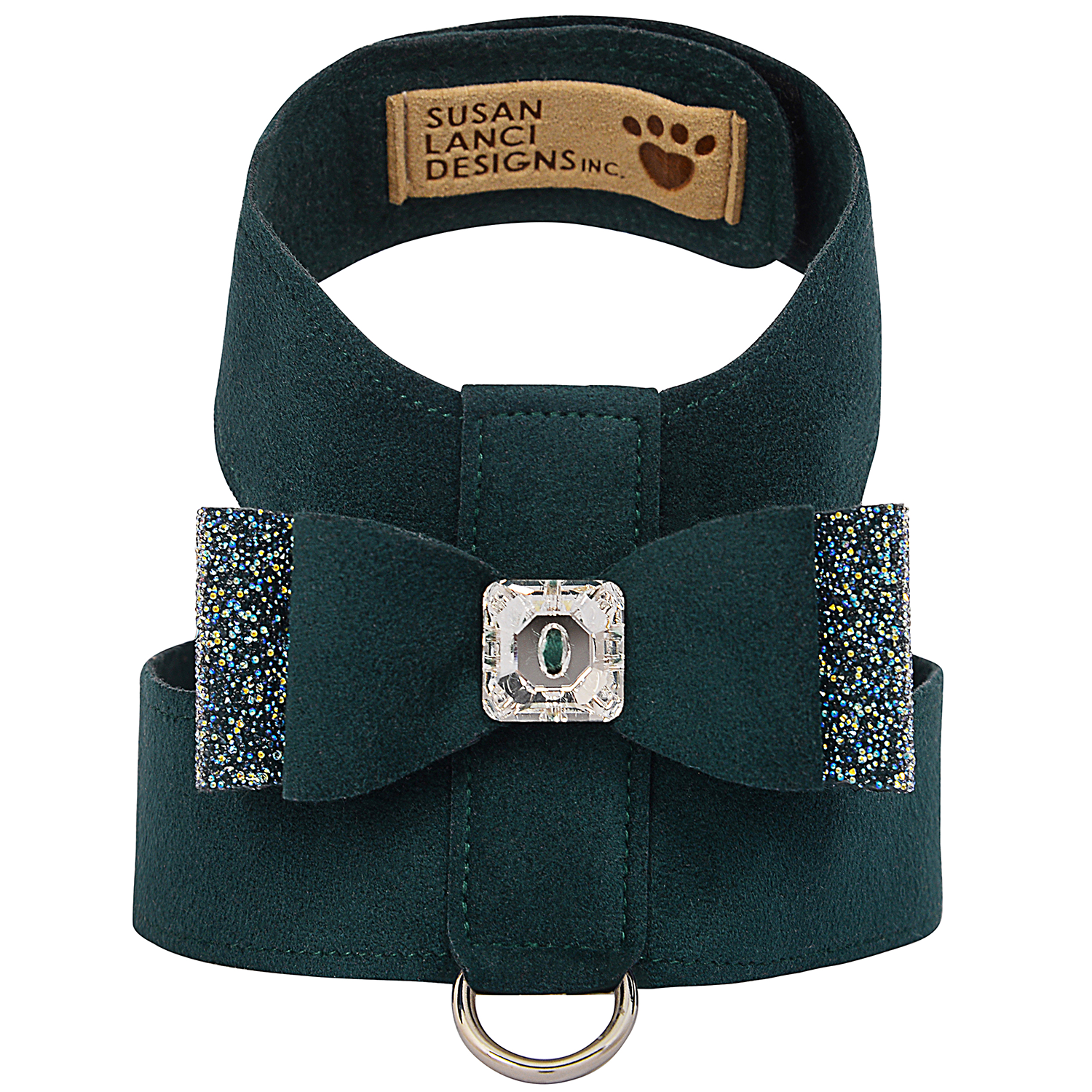 Crystal Stellar Big Bow Tinkie Dog Harness: Emerald