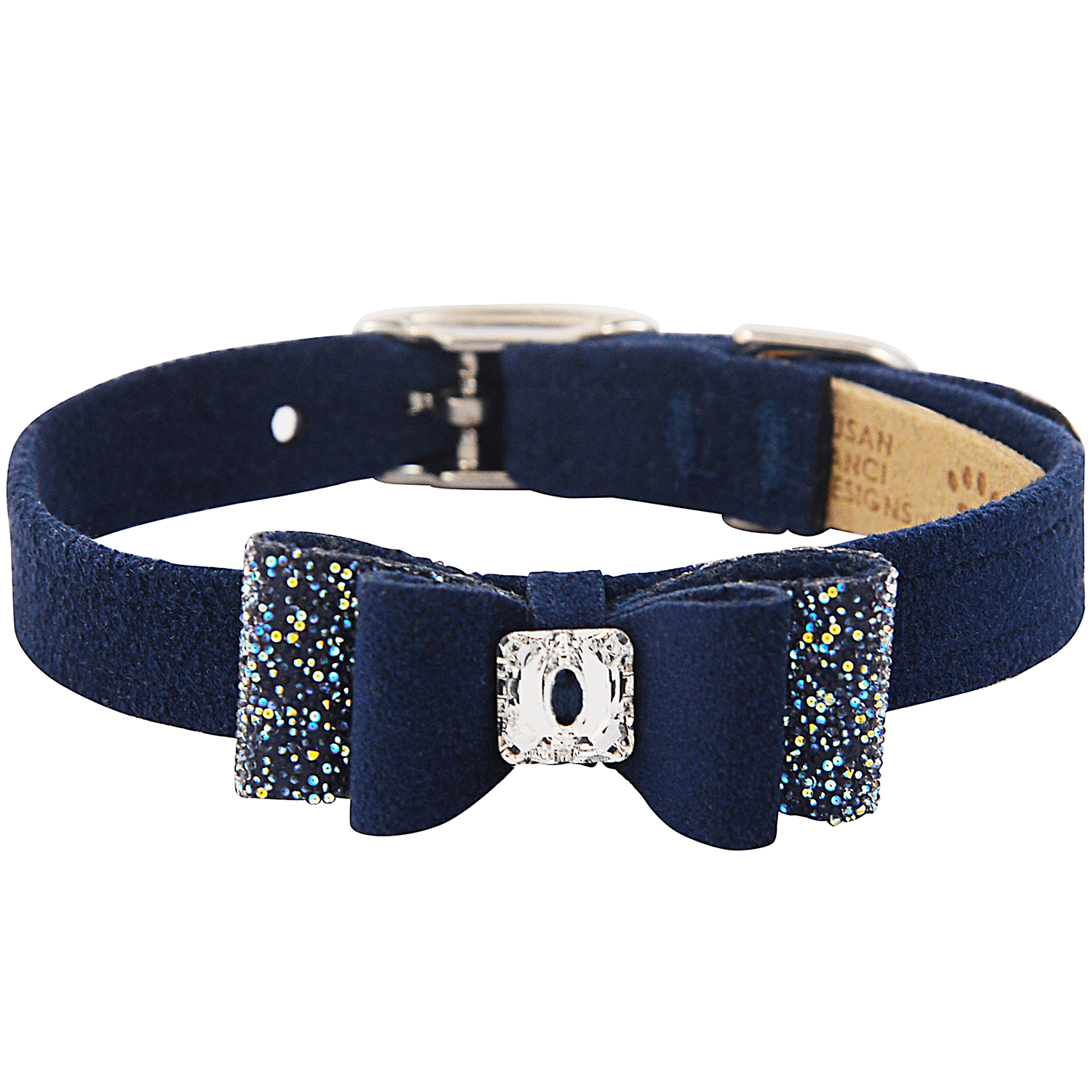 Crystal Stellar Big Bow Pet Collar: Indigo