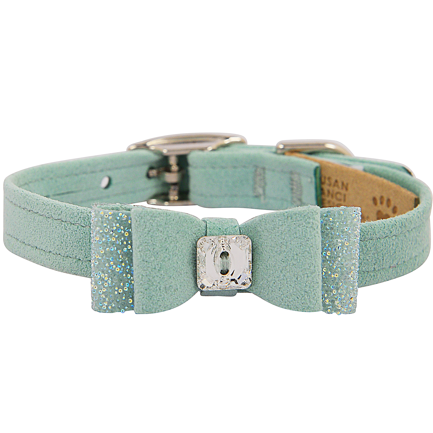 Crystal Stellar Big Bow Pet Collar: Mint