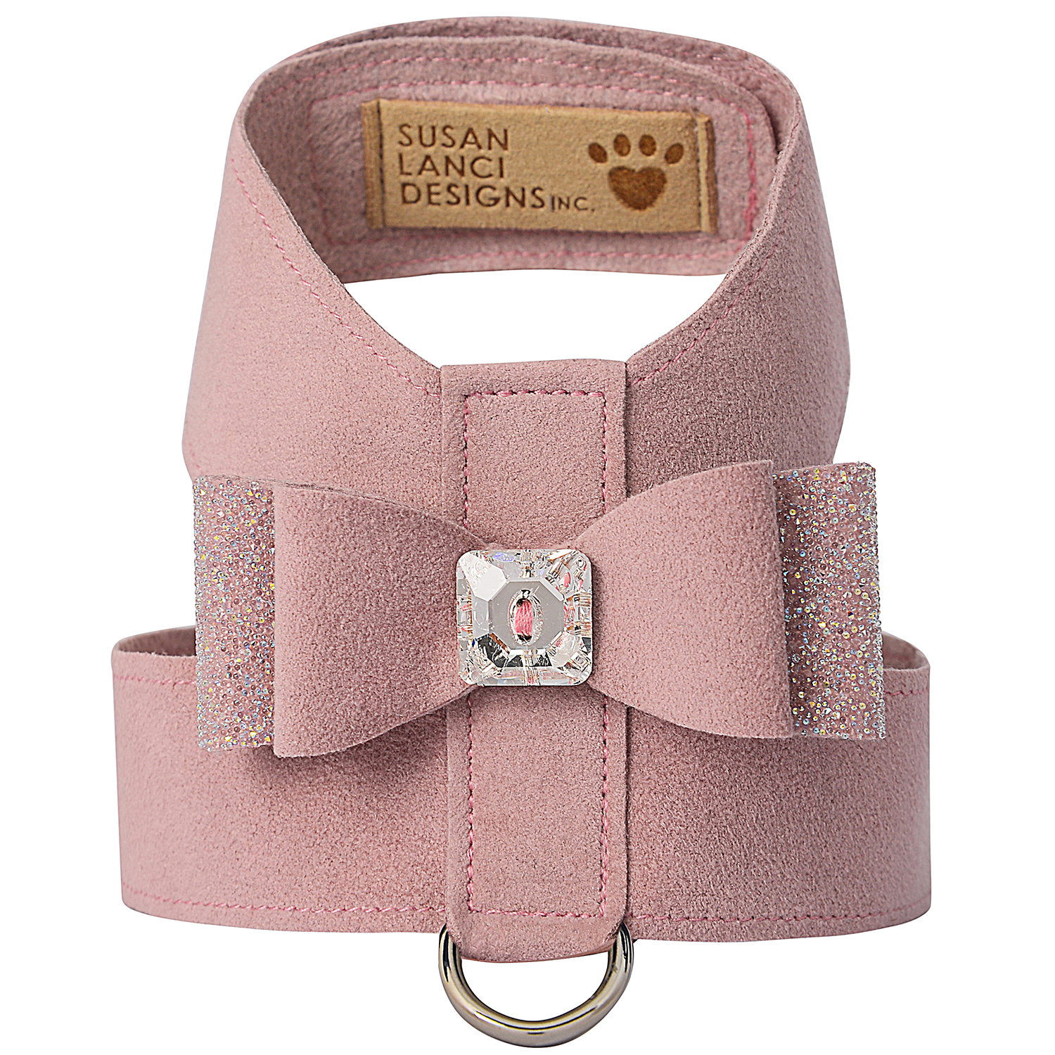 Crystal Stellar Big Bow Tinkie Dog Harness: Rosewood