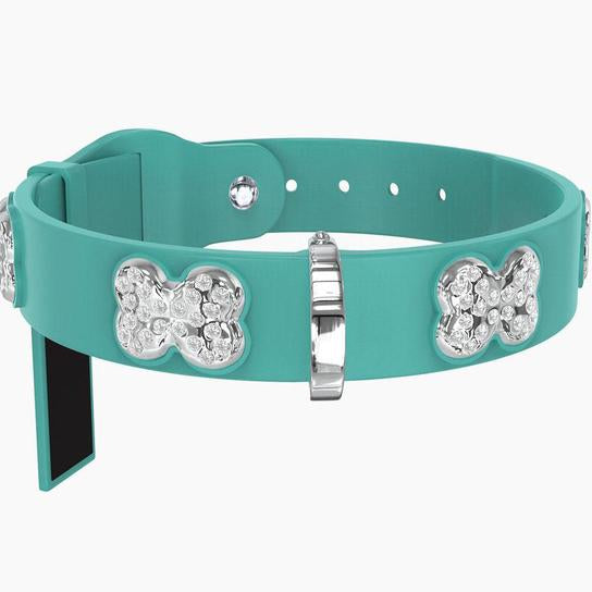 Chrome Teal Silicone Dog Collar Set