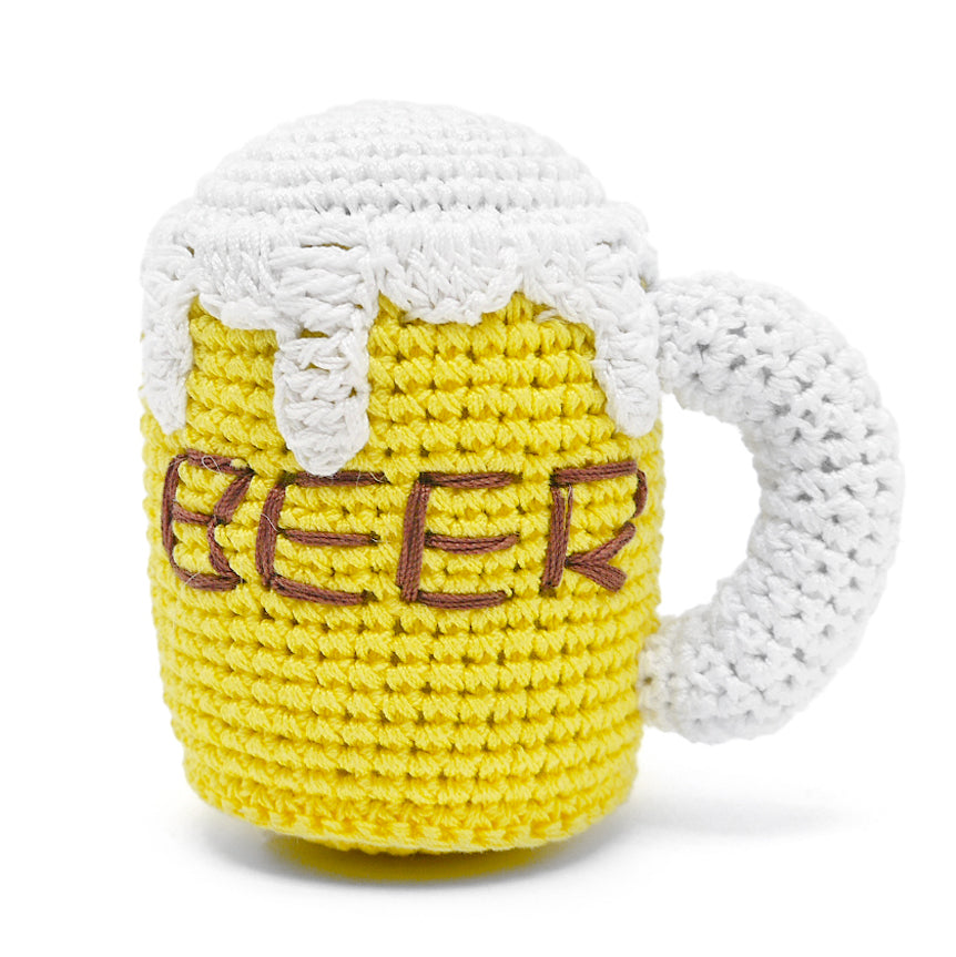 Crochet Beer Mug Dog Toy