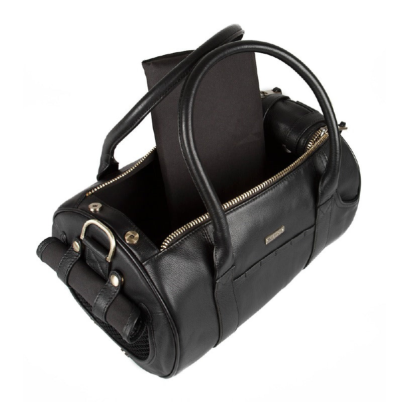 Merikh Leather Dog Carrier: Black