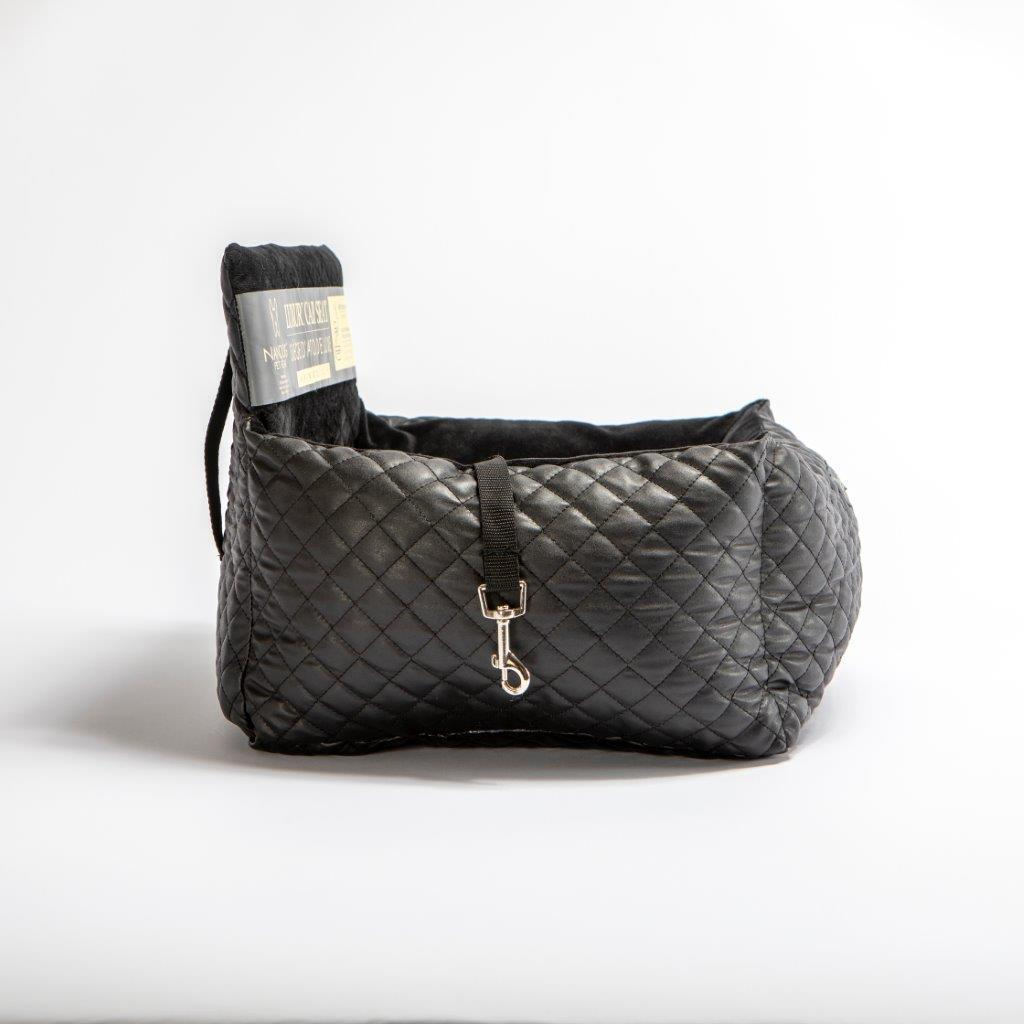 Quilted Leather Dog Car Seat: Black