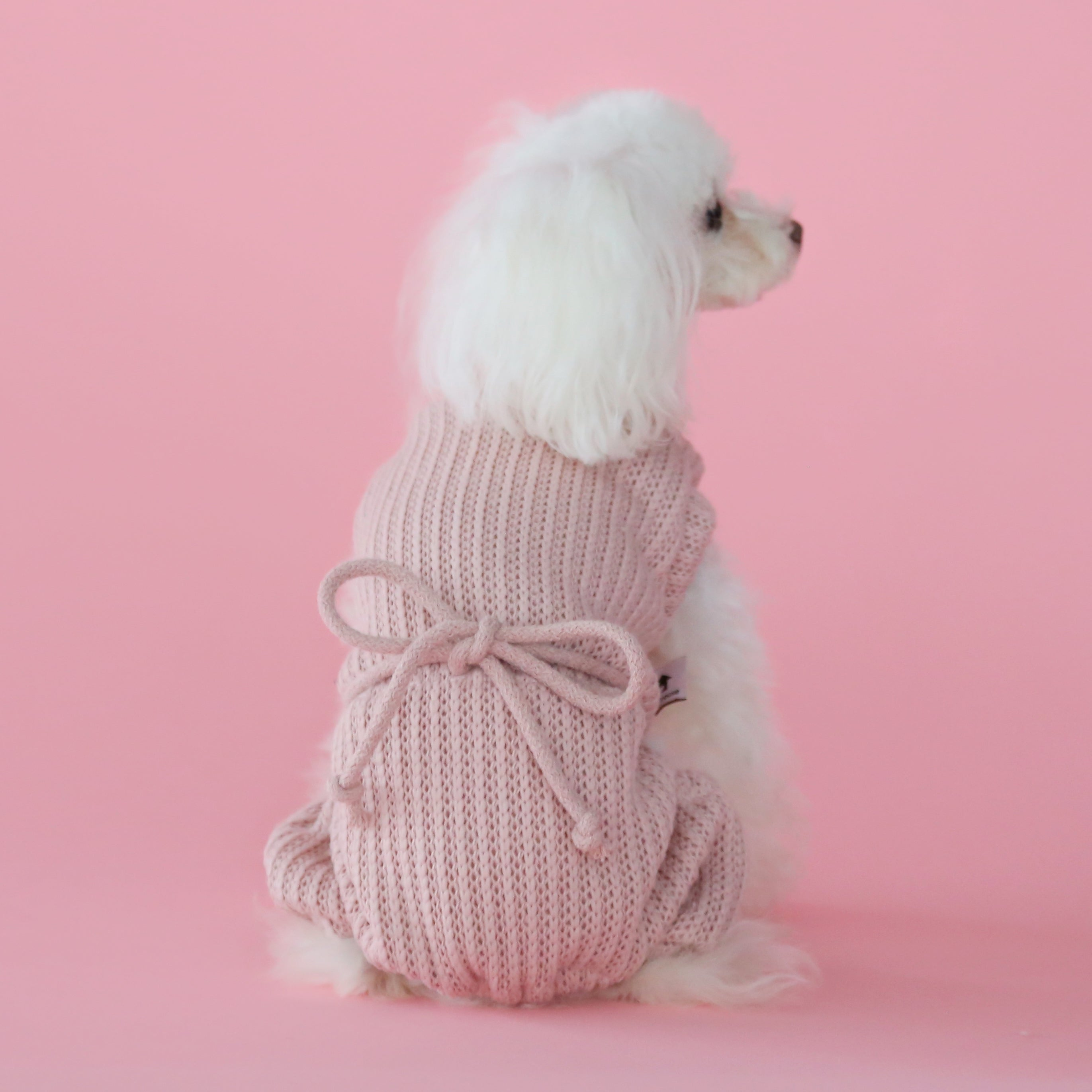 Pink Knit Dog Onesie