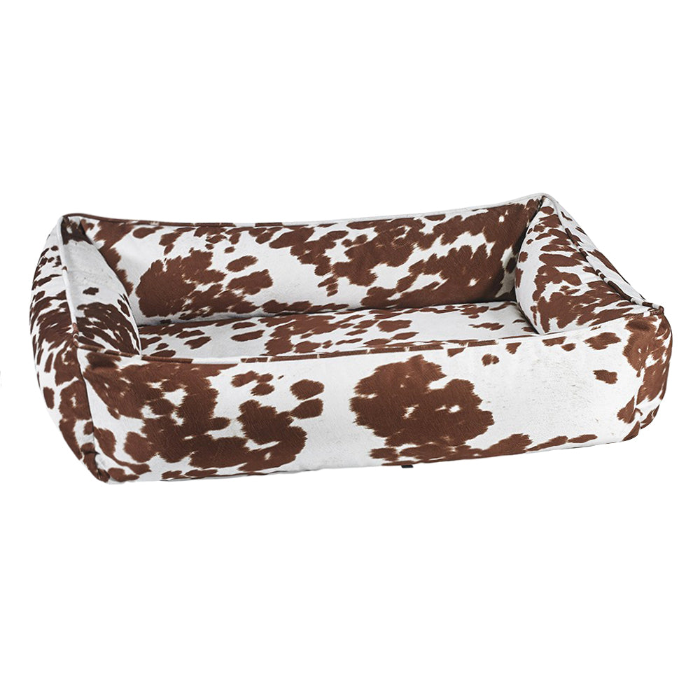 Cow Print Urban Dog Bed: Tan