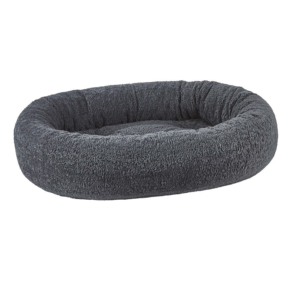 Grey Sheepskin Donut Dog Bed
