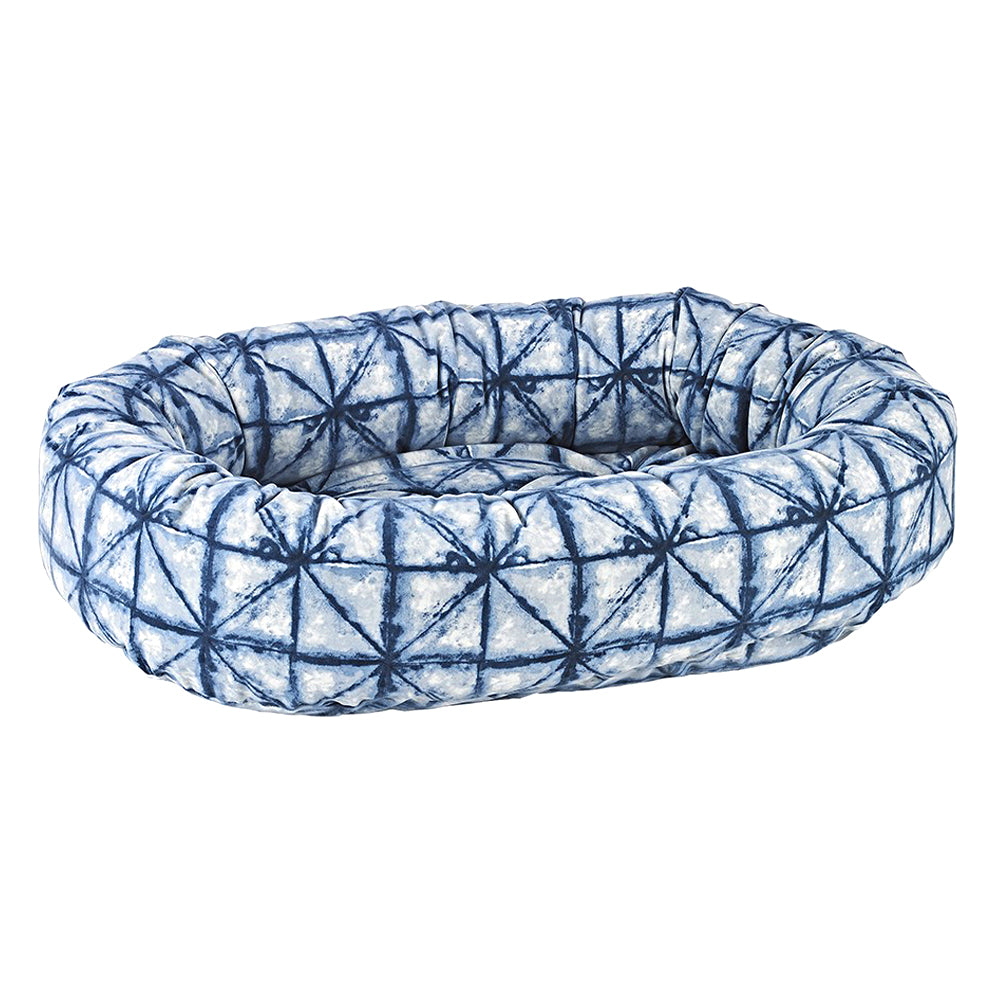 Donut Dog Bed: Shibori Blue