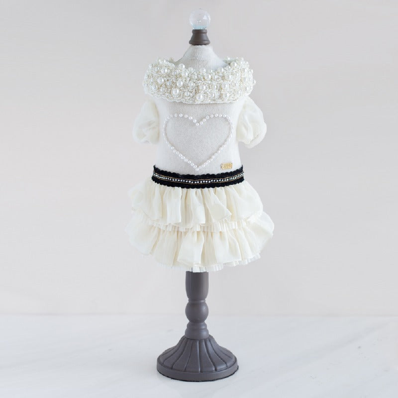 Cashmere Pearl Heart Dog Dress