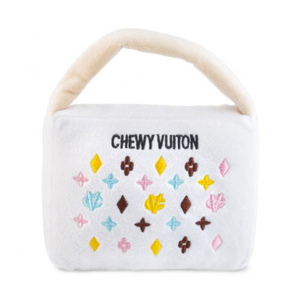 Chewy Vuiton Purse Dog Toy: White
