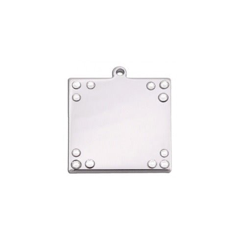 Square Pet ID Tag: Clear Bling