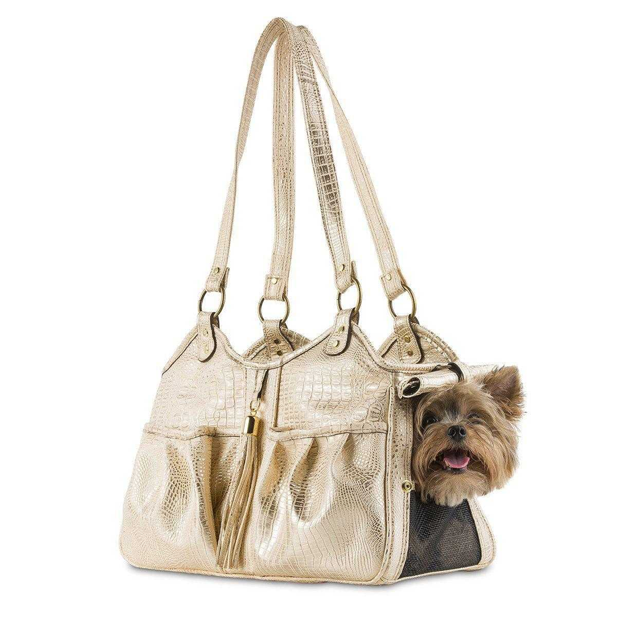 Metro Croco Pet Carrier: Gold