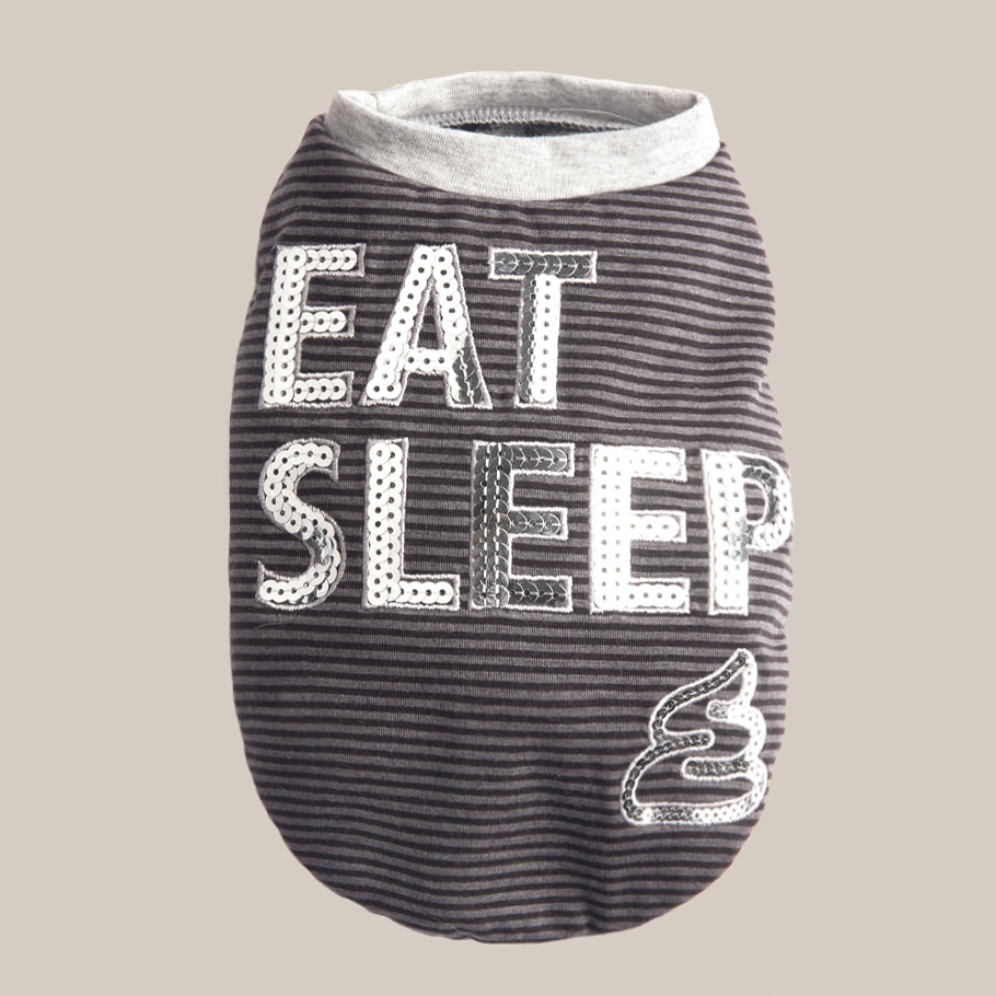 Eat Sleep Dog Tee: Grey