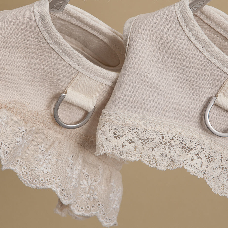 Ecru Dog Harness Set: Frill