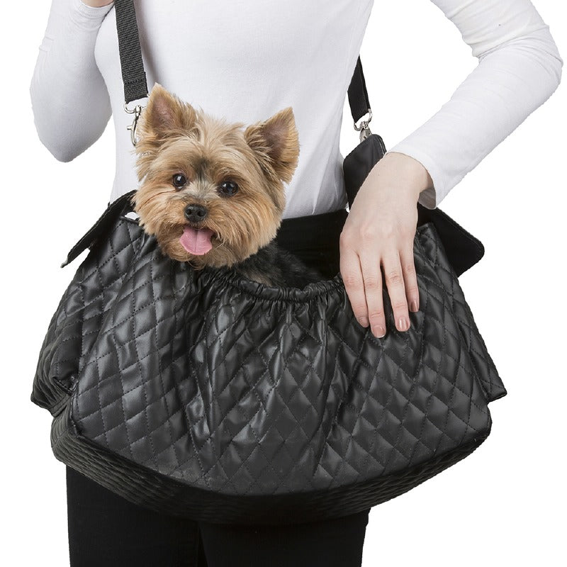 Quilted Gigi Dog Sling: Black