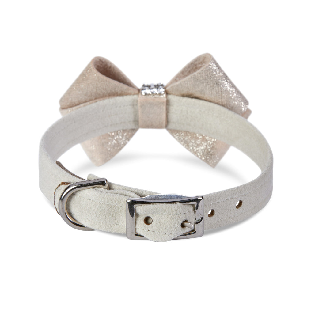 Nouveau Bow Dog Collar: Gold Glitzerati