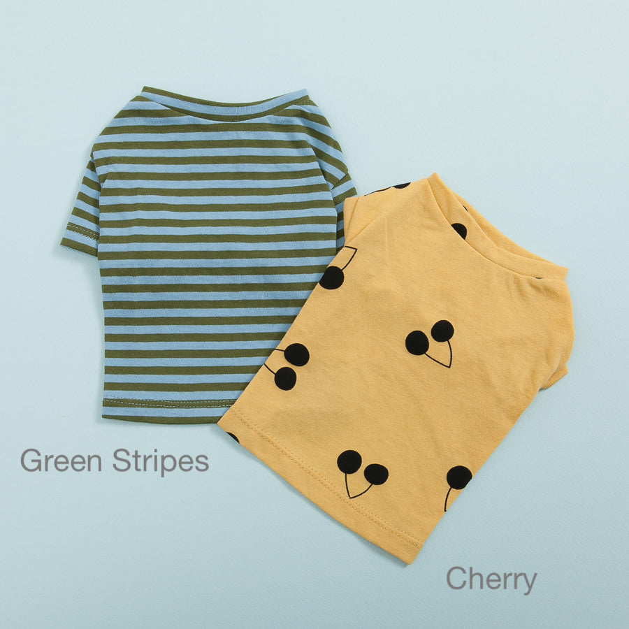 Tee N' Sleeveless Dog Tee: Green Stripes & Cherry
