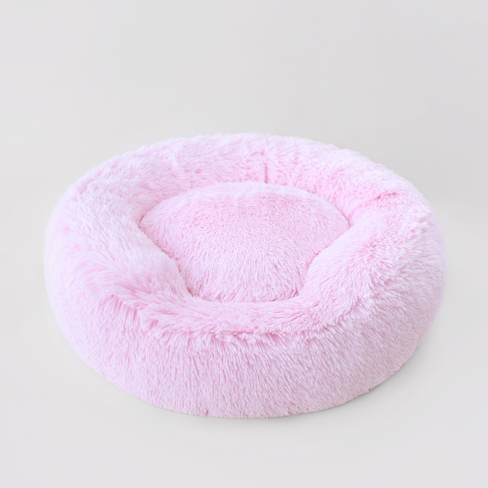 Shag Cuddle Dog Bed: Pink