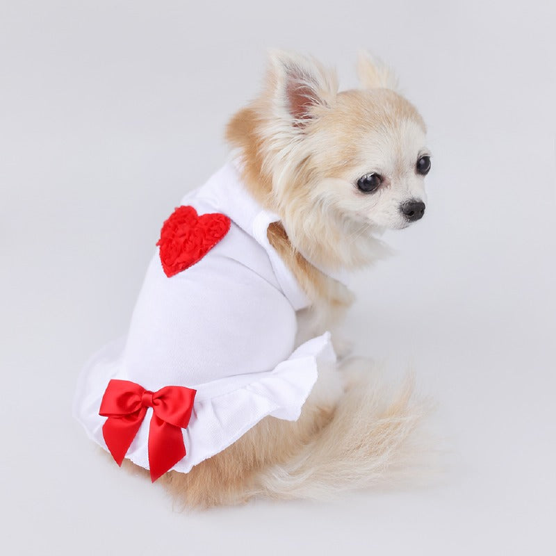 Puff Heart Dog Dress: Red